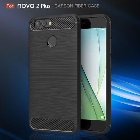 Huawei Nova 2 Plus TPU Case Carbon Fiber Optik Brushed Schutz Hülle Grau – Bild 3