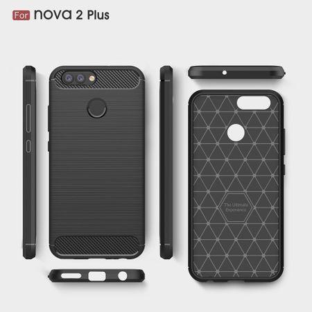 Huawei Nova 2 Plus TPU Case Carbon Fiber Optik Brushed Schutz Hülle Grau – Bild 10