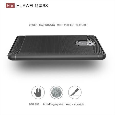 Huawei Enjoy 6s TPU Case Carbon Fiber Optik Brushed Schutz Hülle Schwarz – Bild 4