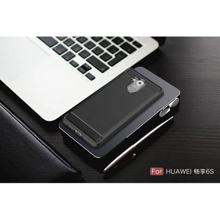 Huawei Enjoy 6s TPU Case Carbon Fiber Optik Brushed Schutz Hülle Schwarz – Bild 9
