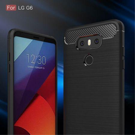 LG G6 TPU Case Carbon Fiber Optik Brushed Schutz Hülle Schwarz – Bild 3