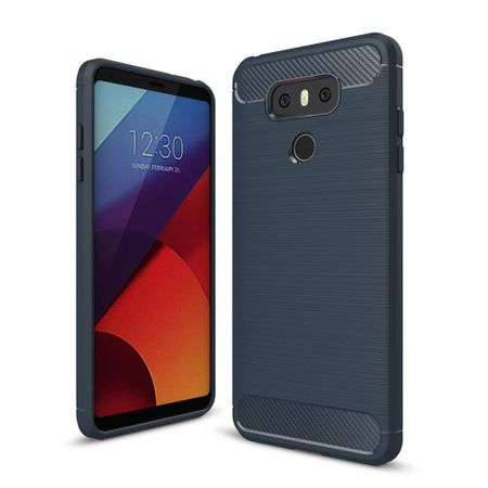 LG G6 TPU Case Carbon Fiber Optik Brushed Schutz Hülle Blau