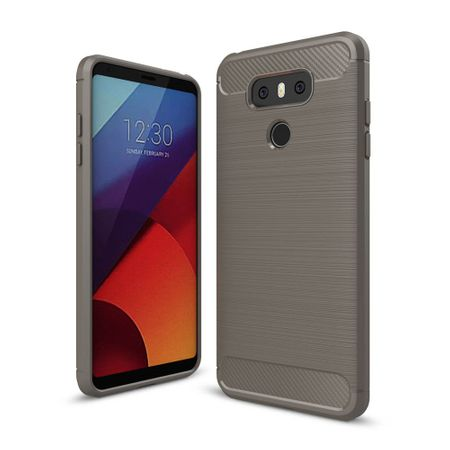 LG G6 TPU Case Carbon Fiber Optik Brushed Schutz Hülle Grau