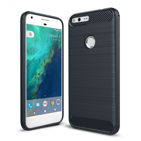 Google Pixel XL TPU Case Carbon Fiber Optik Brushed Schutz Hülle Blau
