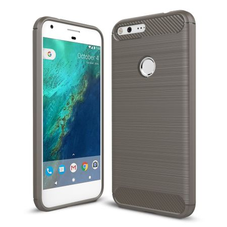 Google Pixel XL TPU Case Carbon Fiber Optik Brushed Schutz Hülle Grau