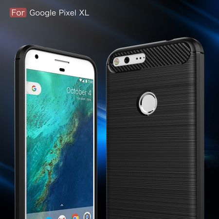 Google Pixel XL TPU Case Carbon Fiber Optik Brushed Schutz Hülle Grau – Bild 3