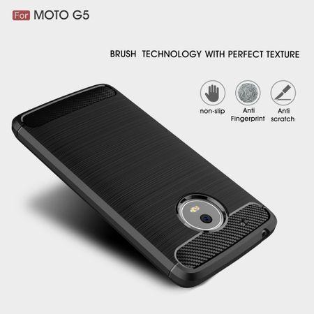 Motorola Moto G5 TPU Case Carbon Fiber Optik Brushed Schutz Hülle Schwarz – Bild 3