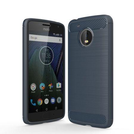 Motorola Moto G5 TPU Case Carbon Fiber Optik Brushed Schutz Hülle Blau