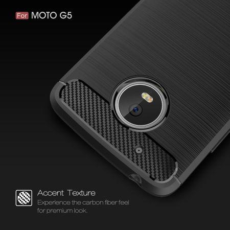 Motorola Moto G5 TPU Case Carbon Fiber Optik Brushed Schutz Hülle Blau – Bild 4