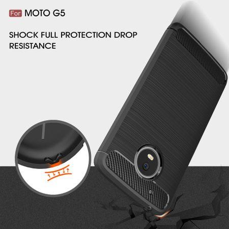 Motorola Moto G5 TPU Case Carbon Fiber Optik Brushed Schutz Hülle Blau – Bild 6