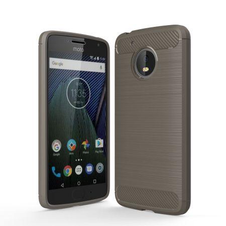 Motorola Moto G5 TPU Case Carbon Fiber Optik Brushed Schutz Hülle Grau