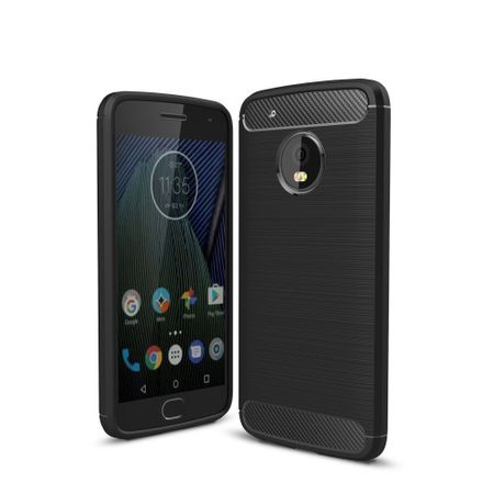 Motorola Moto G5 Plus TPU Case Carbon Fiber Optik Brushed Schutz Hülle Schwarz