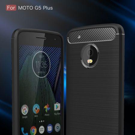 Motorola Moto G5 Plus TPU Case Carbon Fiber Optik Brushed Schutz Hülle Schwarz – Bild 3