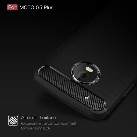 Motorola Moto G5 Plus TPU Case Carbon Fiber Optik Brushed Schutz Hülle Schwarz – Bild 5