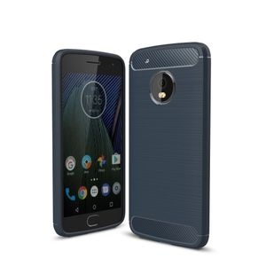 Motorola Moto G5 Plus TPU Case Carbon Fiber Optik Brushed Schutz Hülle Blau