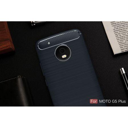 Motorola Moto G5 Plus TPU Case Carbon Fiber Optik Brushed Schutz Hülle Blau – Bild 2