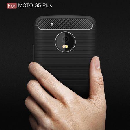 Motorola Moto G5 Plus TPU Case Carbon Fiber Optik Brushed Schutz Hülle Blau – Bild 10