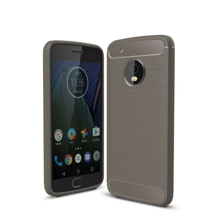 Motorola Moto G5 Plus TPU Case Carbon Fiber Optik Brushed Schutz Hülle Grau
