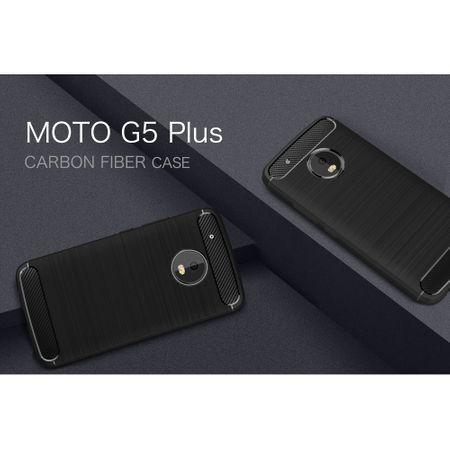 Motorola Moto G5 Plus TPU Case Carbon Fiber Optik Brushed Schutz Hülle Grau – Bild 2