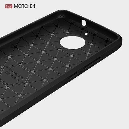 Motorola Moto E4 TPU Case Carbon Fiber Optik Brushed Schutz Hülle Schwarz – Bild 5