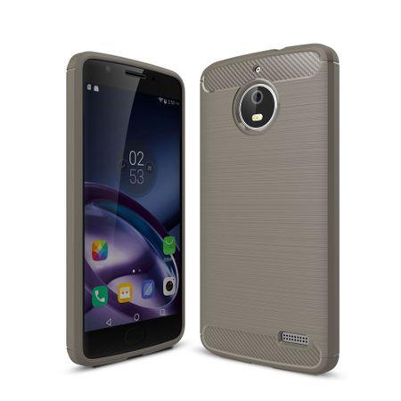 Motorola Moto E4 TPU Case Carbon Fiber Optik Brushed Schutz Hülle Grau