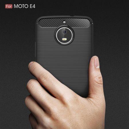 Motorola Moto E4 TPU Case Carbon Fiber Optik Brushed Schutz Hülle Grau – Bild 9