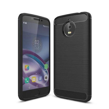 Motorola Moto E4 Plus TPU Case Carbon Fiber Optik Brushed Schutz Hülle Schwarz