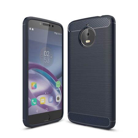 Motorola Moto E4 Plus TPU Case Carbon Fiber Optik Brushed Schutz Hülle Blau