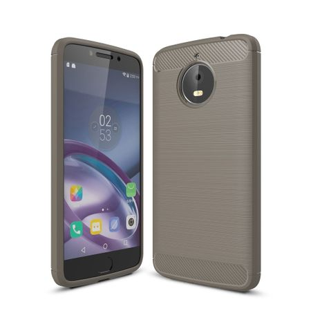 Motorola Moto E4 Plus TPU Case Carbon Fiber Optik Brushed Schutz Hülle Grau