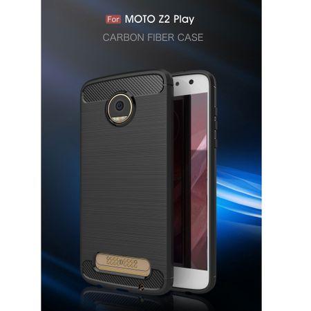 Motorola Moto Z2 Play TPU Case Carbon Fiber Optik Brushed Schutz Hülle Schwarz – Bild 2