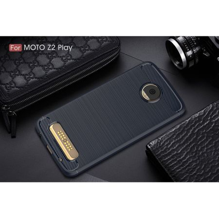 Motorola Moto Z2 Play TPU Case Carbon Fiber Optik Brushed Schutz Hülle Blau – Bild 2