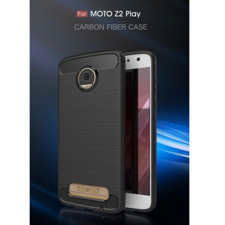Motorola Moto Z2 Play TPU Case Carbon Fiber Optik Brushed Schutz Hülle Blau – Bild 3