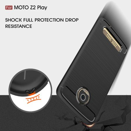 Motorola Moto Z2 Play TPU Case Carbon Fiber Optik Brushed Schutz Hülle Blau – Bild 8