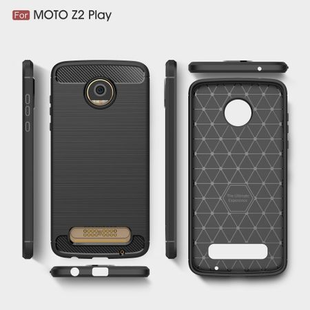 Motorola Moto Z2 Play TPU Case Carbon Fiber Optik Brushed Schutz Hülle Blau – Bild 9