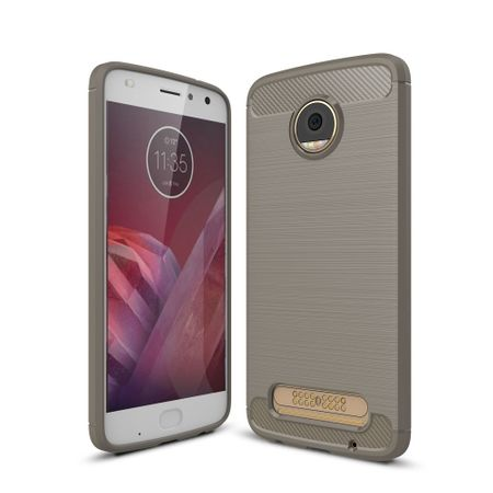 Motorola Moto Z2 Play TPU Case Carbon Fiber Optik Brushed Schutz Hülle Grau
