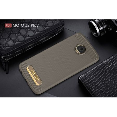 Motorola Moto Z2 Play TPU Case Carbon Fiber Optik Brushed Schutz Hülle Grau – Bild 2