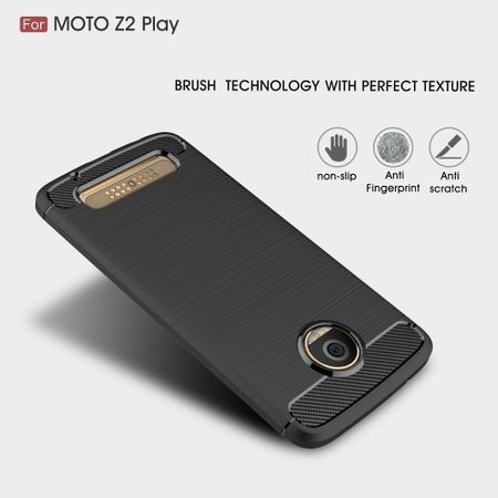 Motorola Moto Z2 Play TPU Case Carbon Fiber Optik Brushed Schutz Hülle Grau – Bild 4