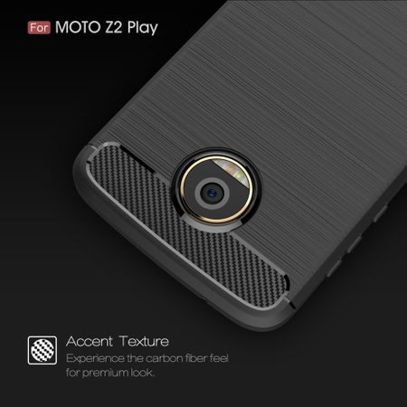 Motorola Moto Z2 Play TPU Case Carbon Fiber Optik Brushed Schutz Hülle Grau – Bild 5