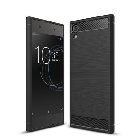 Sony Xperia XA1 TPU Case Carbon Fiber Optik Brushed Schutz Hülle Schwarz
