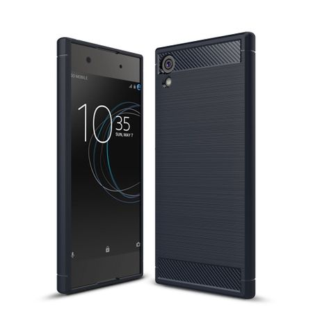 Sony Xperia XA1 TPU Case Carbon Fiber Optik Brushed Schutz Hülle Blau