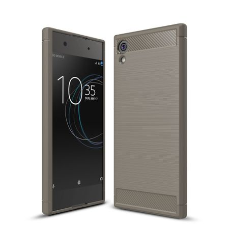 Sony Xperia XA1 TPU Case Carbon Fiber Optik Brushed Schutz Hülle Grau