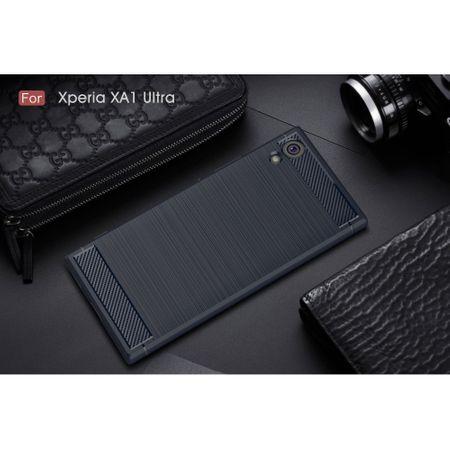 Sony Xperia XA1 Ultra TPU Case Carbon Fiber Optik Brushed Schutz Hülle Blau – Bild 2