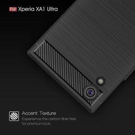 Sony Xperia XA1 Ultra TPU Case Carbon Fiber Optik Brushed Schutz Hülle Grau – Bild 5