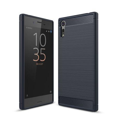 Sony Xperia XZs TPU Case Carbon Fiber Optik Brushed Schutz Hülle Blau