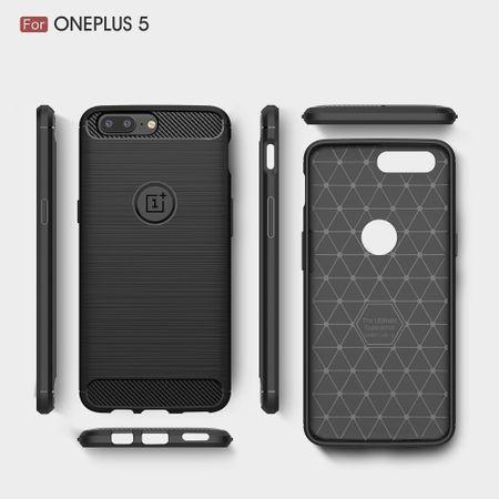 OnePlus 5 TPU Case Carbon Fiber Optik Brushed Schutz Hülle Schwarz – Bild 9