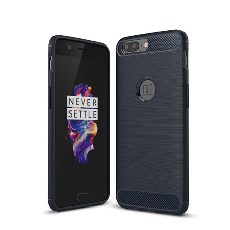 OnePlus 5 TPU Case Carbon Fiber Optik Brushed Schutz Hülle Blau