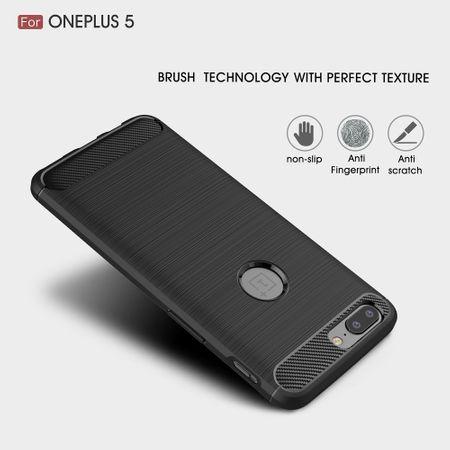 OnePlus 5 TPU Case Carbon Fiber Optik Brushed Schutz Hülle Blau – Bild 4