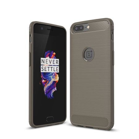 OnePlus 5 TPU Case Carbon Fiber Optik Brushed Schutz Hülle Grau