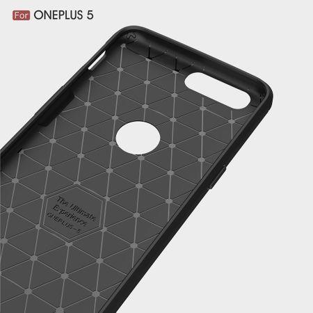 OnePlus 5 TPU Case Carbon Fiber Optik Brushed Schutz Hülle Grau – Bild 6