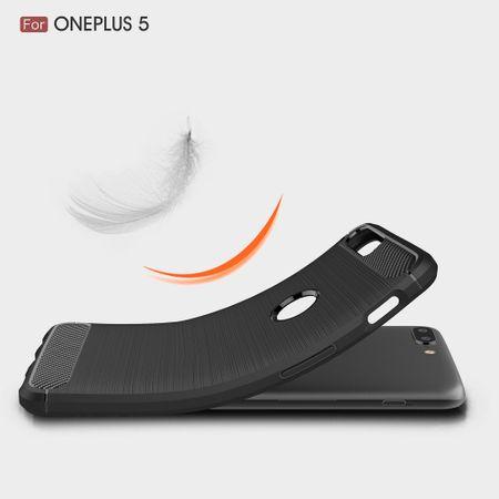 OnePlus 5 TPU Case Carbon Fiber Optik Brushed Schutz Hülle Grau – Bild 8